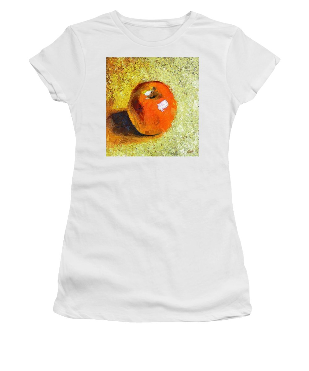 Red Apple Women's T-Shirt (Athletic Fit) featuring the painting Red Apple by Dragica Micki Fortuna
