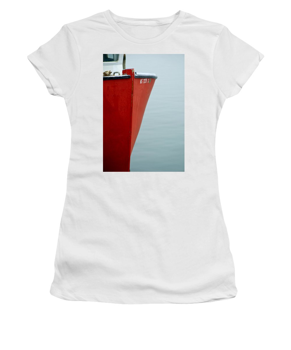 Red Women's T-Shirt (Athletic Fit) featuring the photograph Red Boat by Charles Harden
