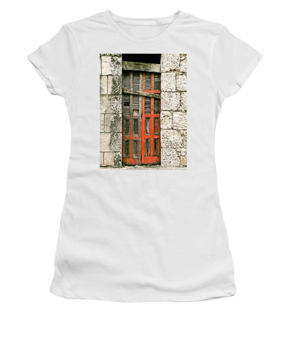 Door Women's T-Shirt (Athletic Fit) featuring the photograph Red Door by Douglas Barnett