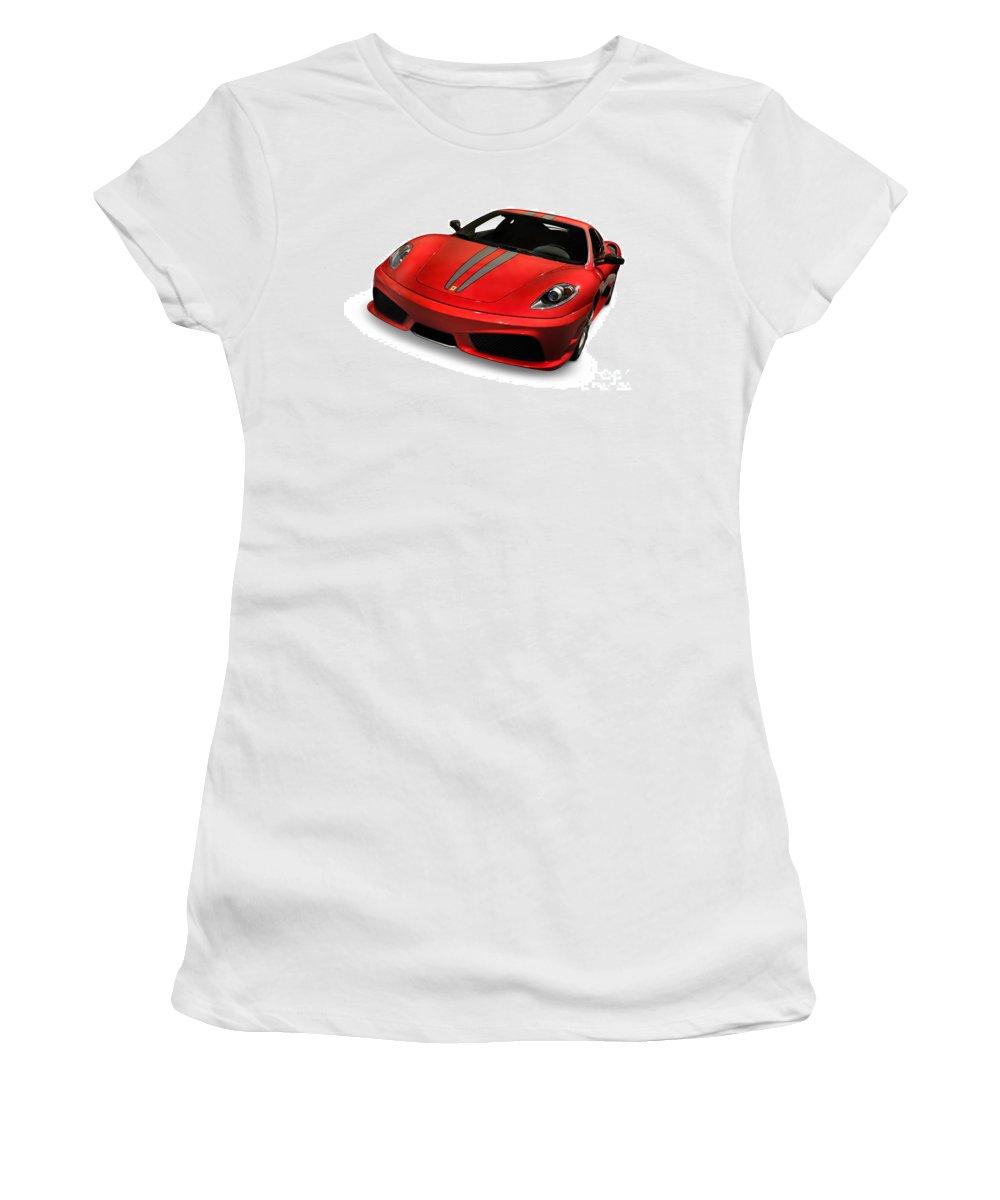 Ferrari Women's T-Shirt featuring the photograph Red Ferrari F430 Scuderia by Oleksiy Maksymenko