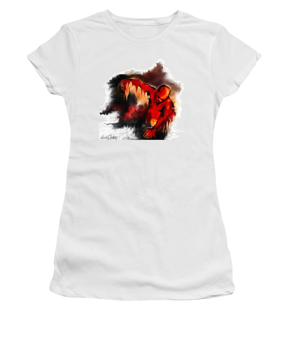 Red Man Passion Sureall Fire Women's T-Shirt (Athletic Fit) featuring the digital art Red Man by Veronica Jackson