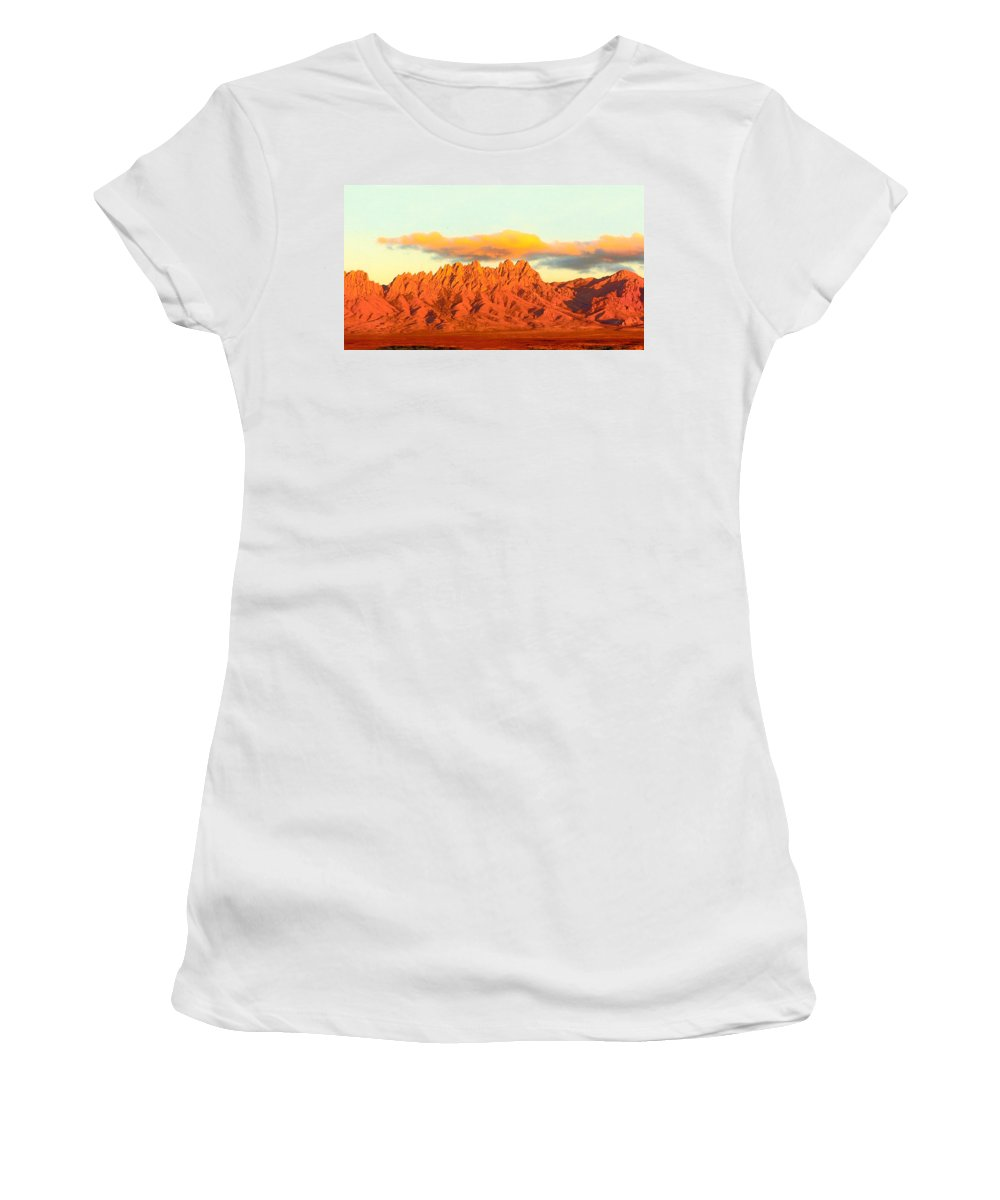 A Jack Pumphrey Photograph Of The Organ Mountains-desert Peaks National Monument Women's T-Shirt (Athletic Fit) featuring the photograph Red Mountain Sunset Organs by Jack Pumphrey