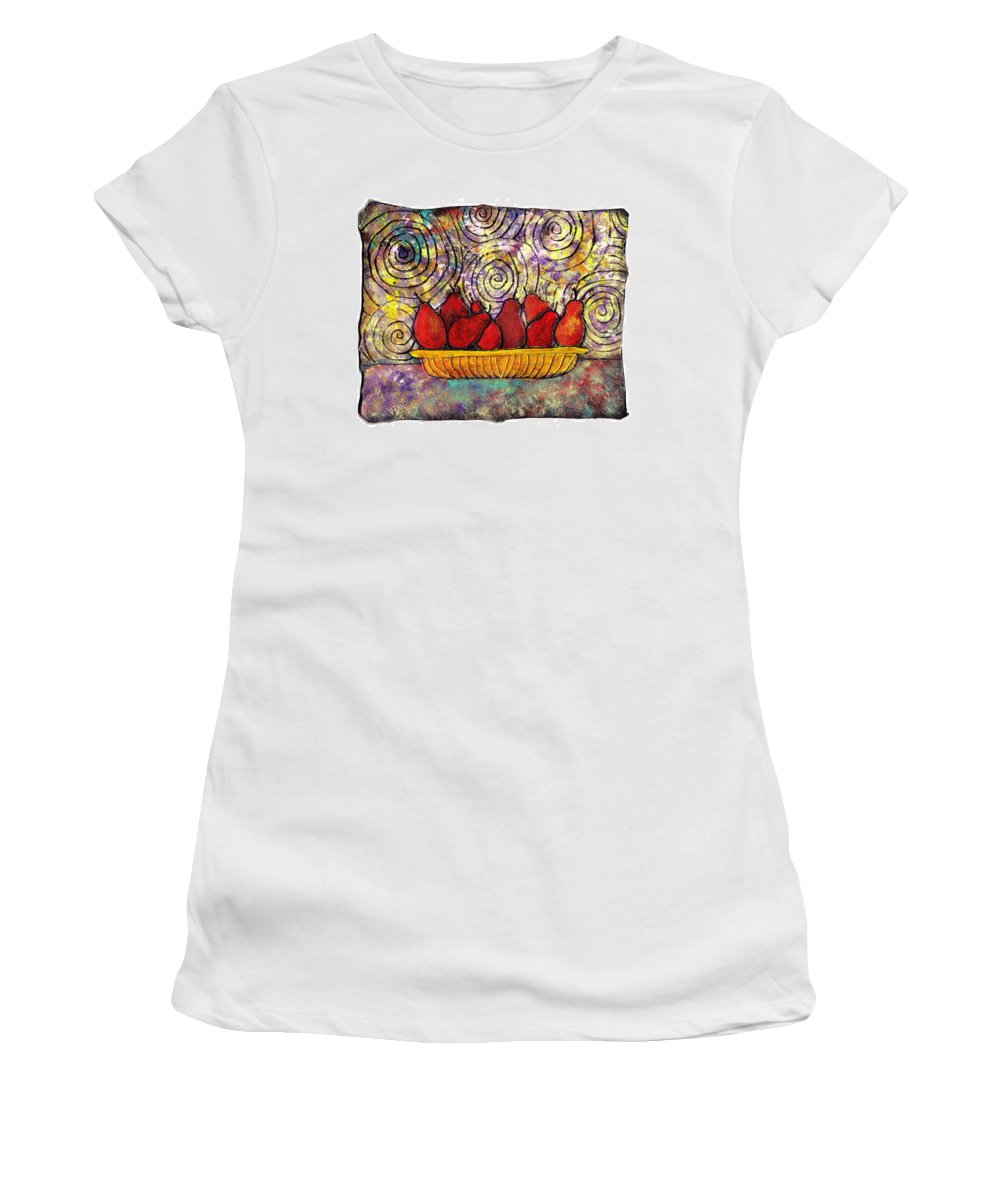 Spirals Women's T-Shirt (Athletic Fit) featuring the painting Red Pears In A Bowl by Wayne Potrafka