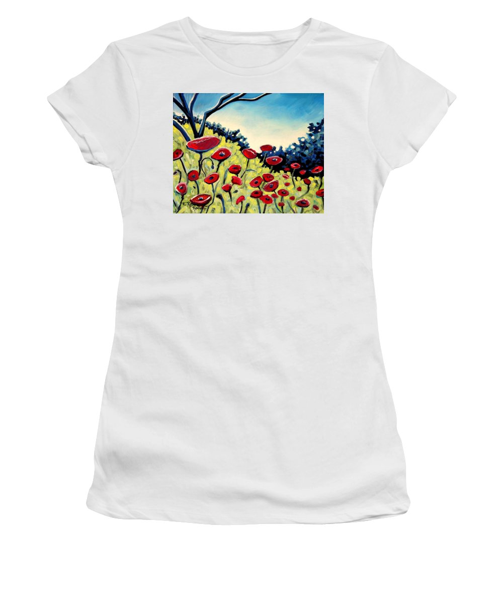 Poppies Women's T-Shirt (Athletic Fit) featuring the painting Red Poppies Under A Blue Sky by Elizabeth Robinette Tyndall