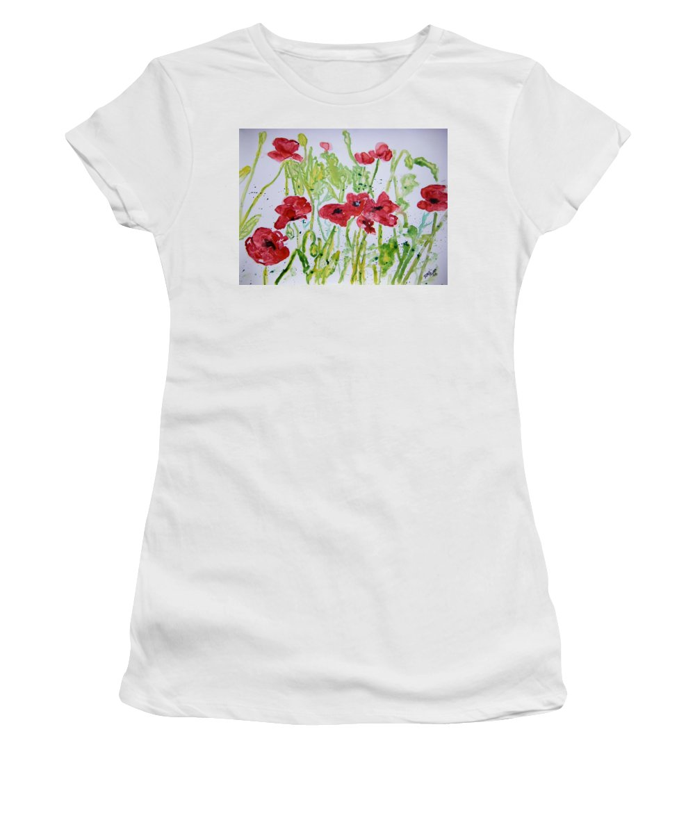 Poppy Women's T-Shirt (Athletic Fit) featuring the painting Red Poppy Flowers by Derek Mccrea
