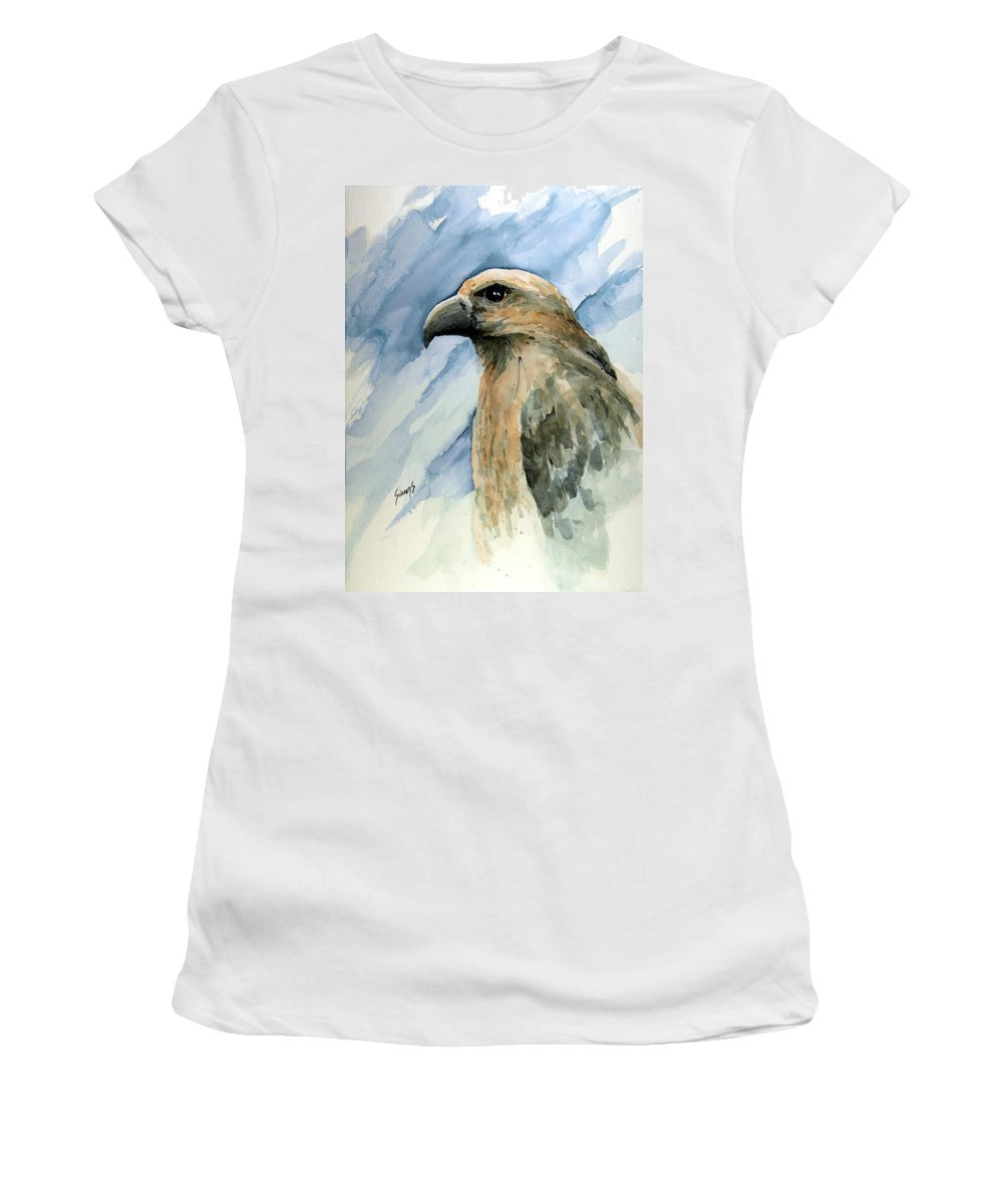Bird Women's T-Shirt (Athletic Fit) featuring the painting Red by Sam Sidders