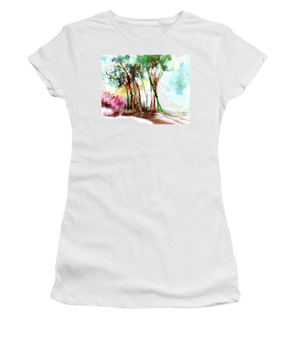 Landscape Women's T-Shirt (Athletic Fit) featuring the painting Red Trees by Anil Nene