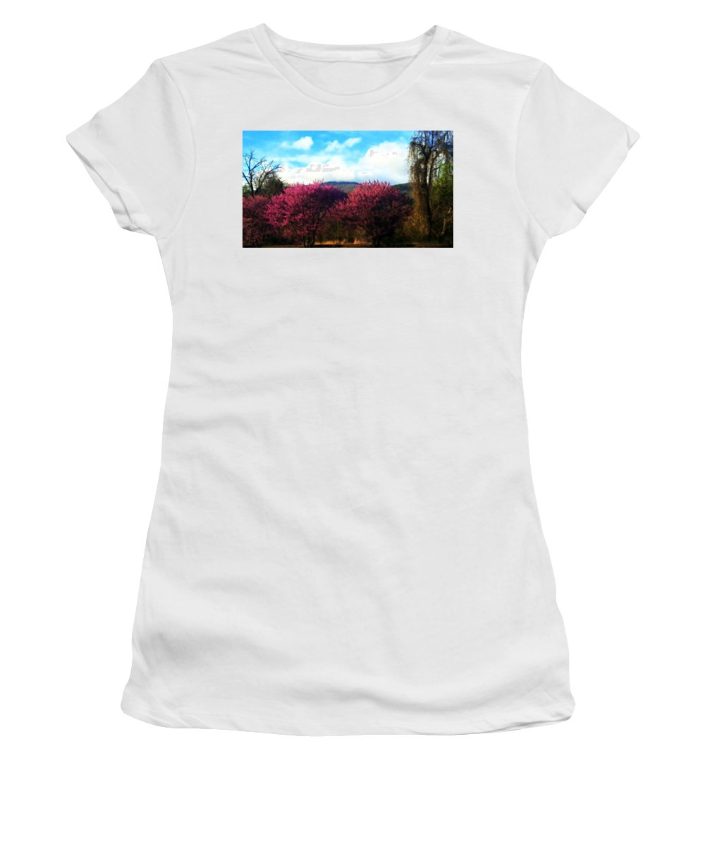 Trees Women's T-Shirt featuring the photograph Redbud In The Blue Ridge by Kathy Barney
