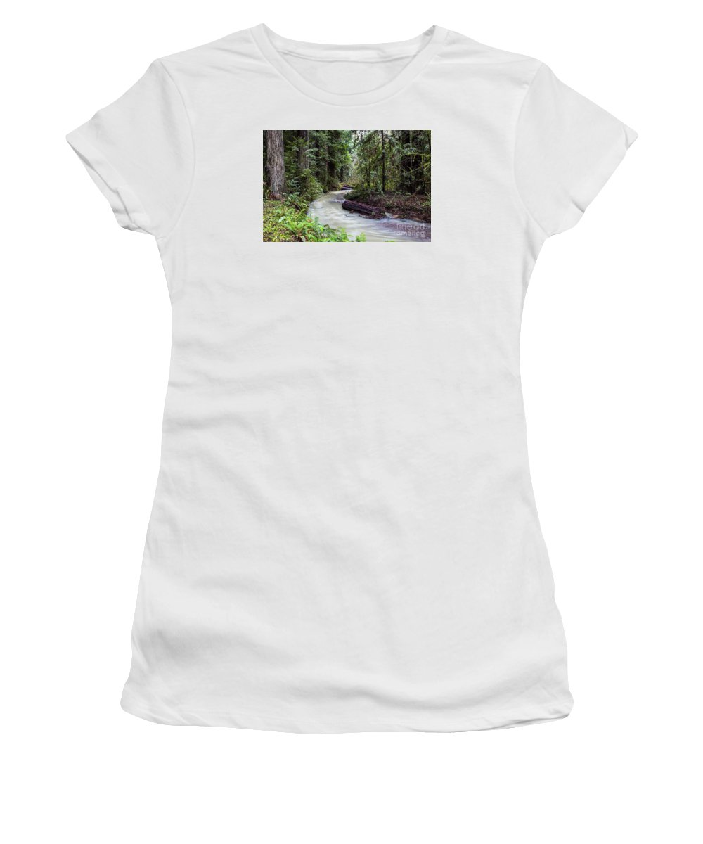Stream Women's T-Shirt (Athletic Fit) featuring the photograph Redwood Stream by Daryl L Hunter