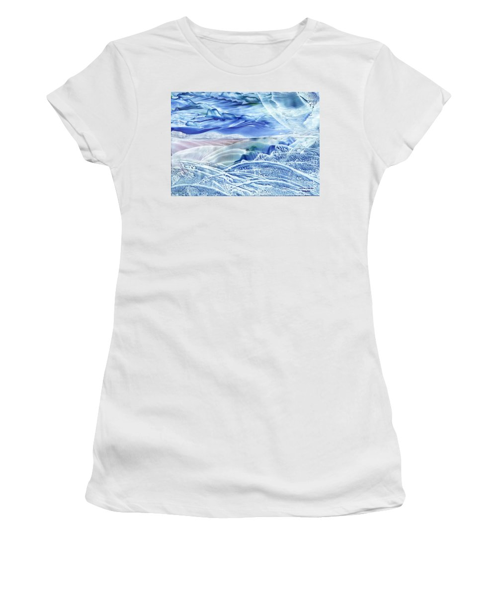 Wax Women's T-Shirt (Athletic Fit) featuring the painting Reflections Of The Moon by Shelley Jones