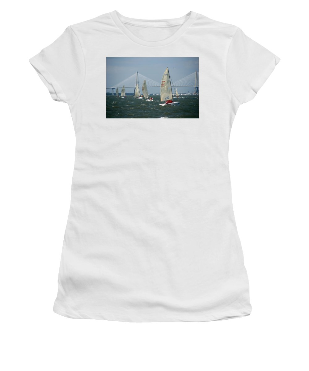 Photography Women's T-Shirt (Athletic Fit) featuring the photograph Regatta In Charleston Harbor by Susanne Van Hulst