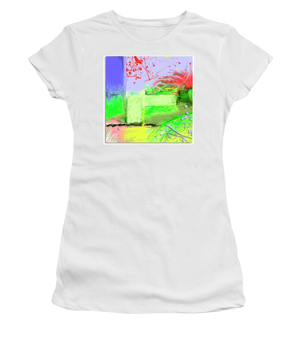Abstract Mixed Media Digtal Contempory Modern Acrylic Pastel Splash Colorful Whimsy Canvas Women's T-Shirt (Athletic Fit) featuring the digital art Relaxing Intermission by Snake Jagger