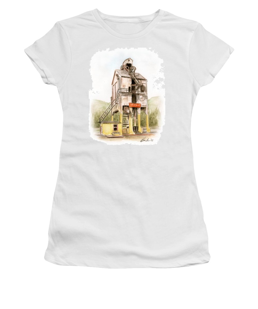 Renovo Travel Art Brucelennon Art Women's T-Shirt (Athletic Fit) featuring the painting Renovo Pa by Bruce Lennon