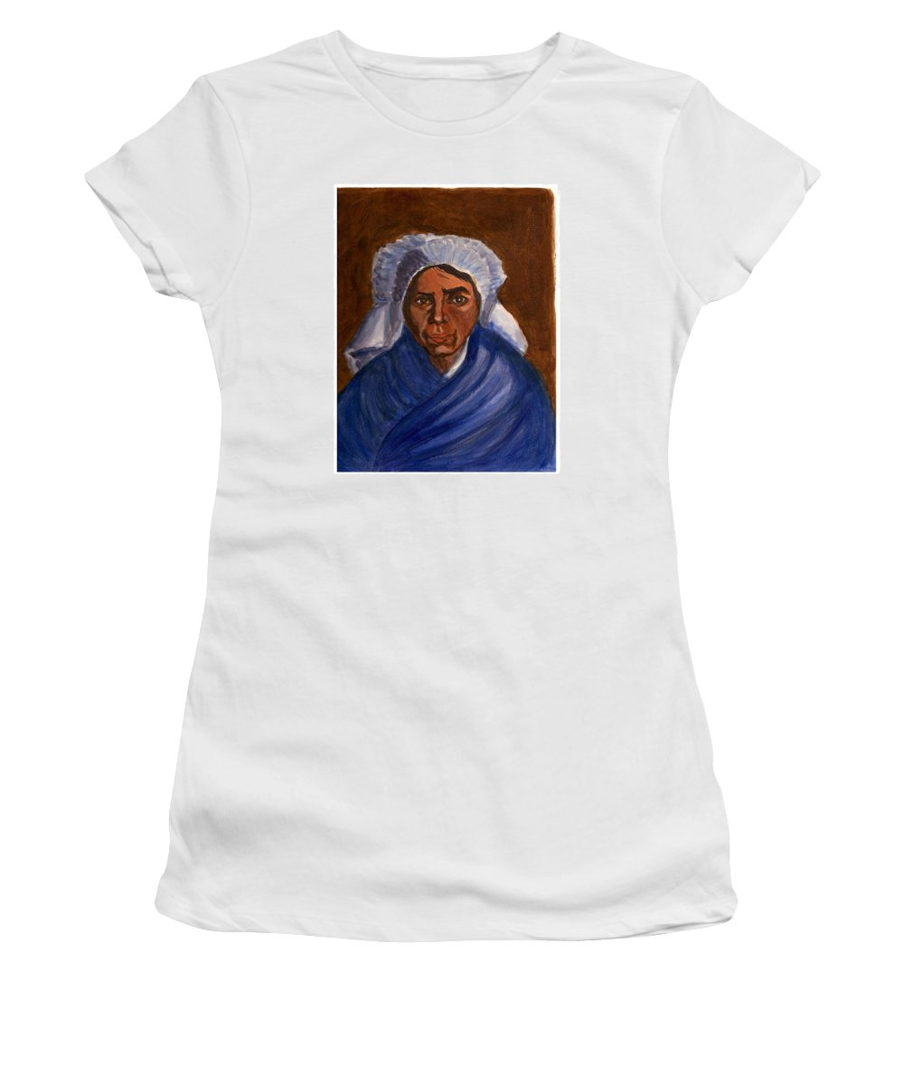 Peasant Woman By Van Gogh Reproduced Women's T-Shirt (Athletic Fit) featuring the painting Reproduction Of Van Gogh by Asha Sudhaker Shenoy