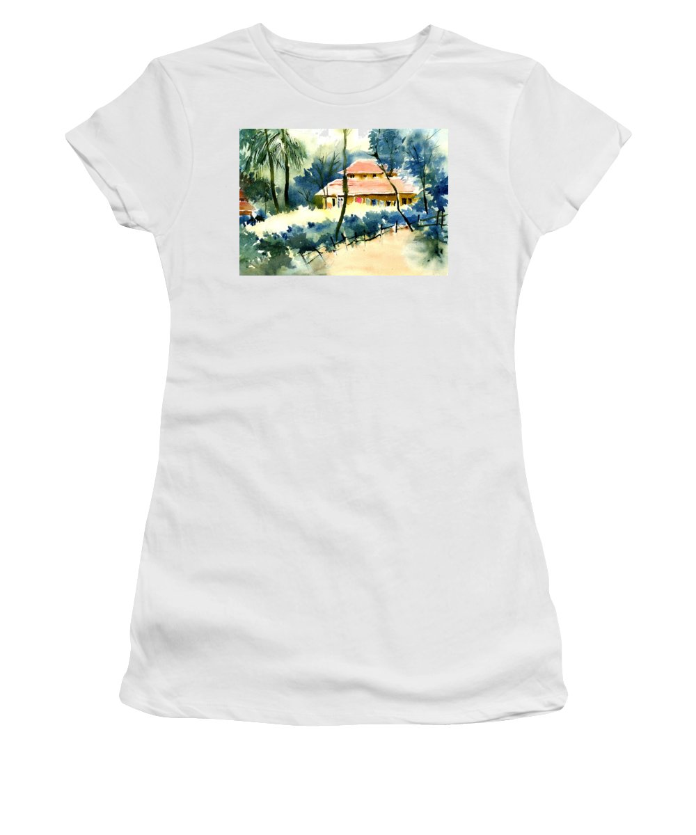 Landscape Women's T-Shirt (Athletic Fit) featuring the painting Rest House by Anil Nene