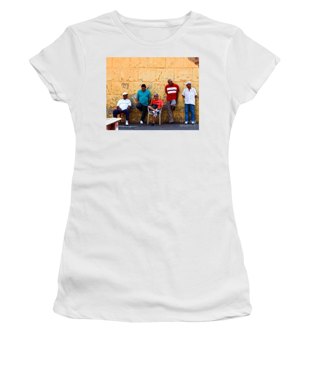 Senior Women's T-Shirt (Athletic Fit) featuring the photograph Retired Men And Yellow Wall Cartegena by Thomas Marchessault