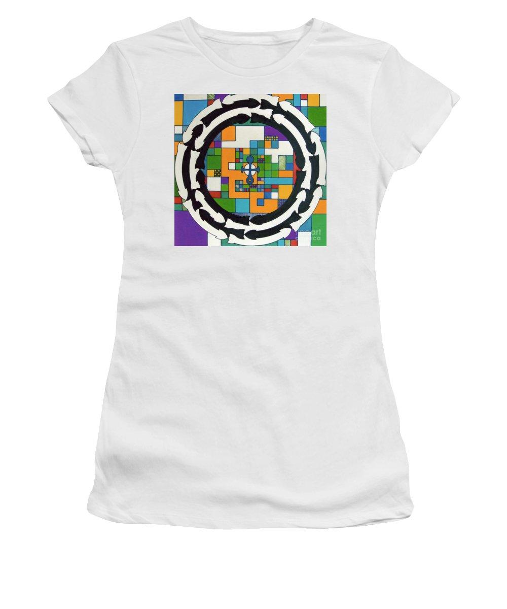Celtic Cross Women's T-Shirt featuring the drawing Rfb0712 by Robert F Battles