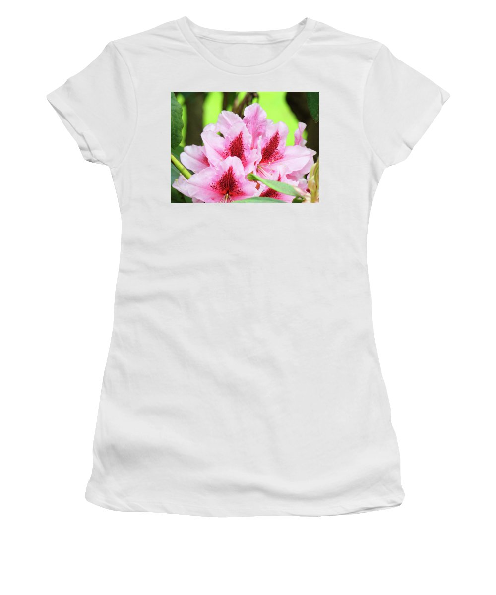 Rhodie Women's T-Shirt (Athletic Fit) featuring the photograph Rhododendron Floral Art Prints Rhodies Flowers Canvas Baslee Troutman by Baslee Troutman