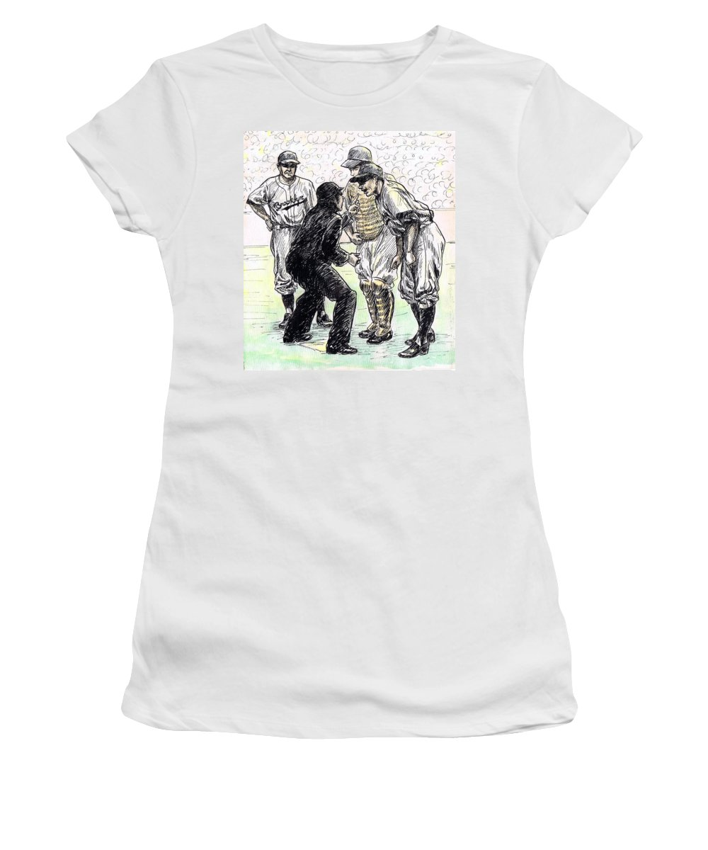 Nostalgia Women's T-Shirt featuring the drawing Rhubarb by Mel Thompson