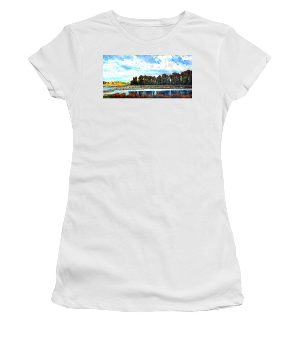 Landscapes Women's T-Shirt (Athletic Fit) featuring the painting Ridgefield Refuge Early Fall by Jim Gola