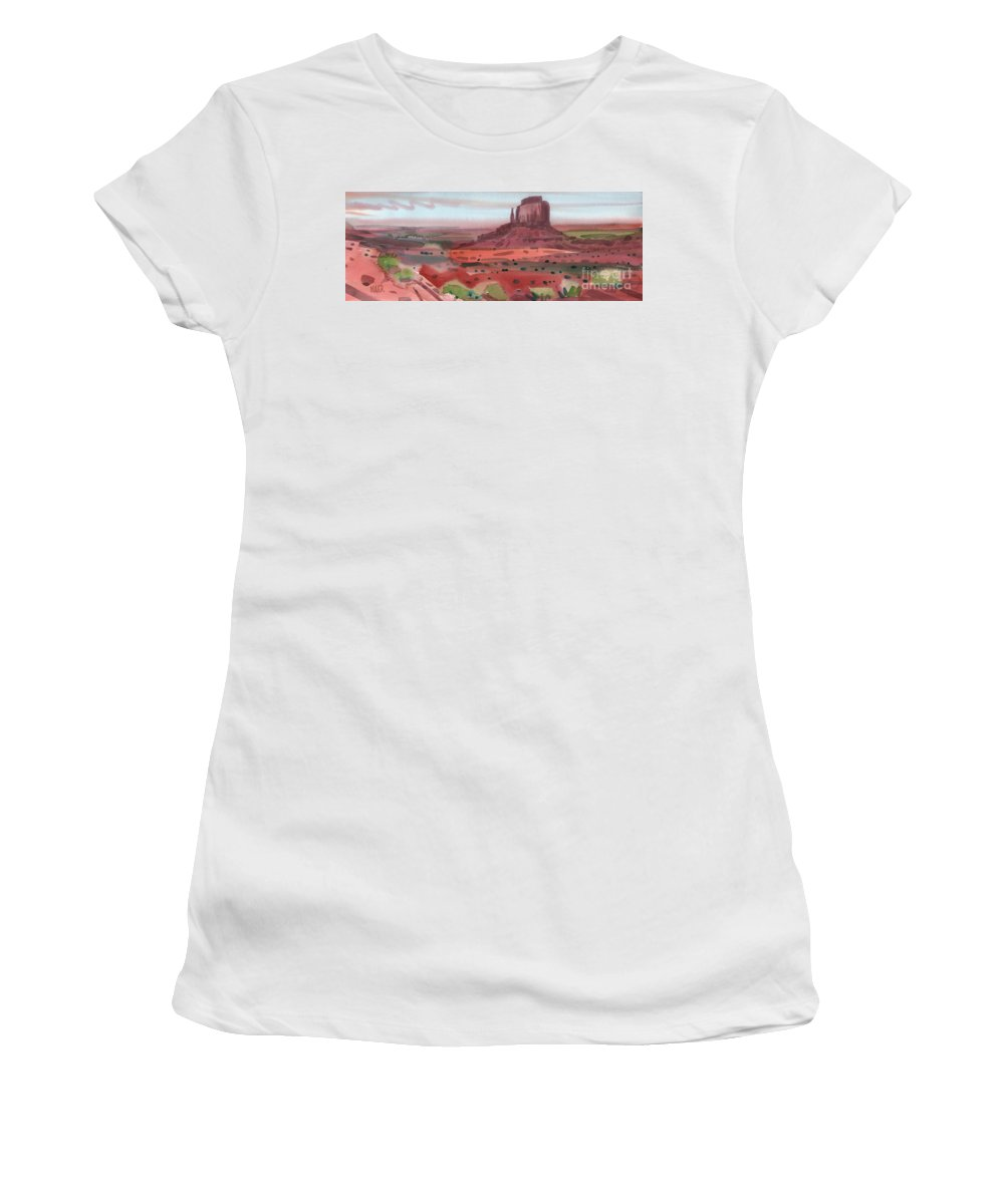 Right Mitten Women's T-Shirt (Athletic Fit) featuring the painting Right Mitten Panorama by Donald Maier