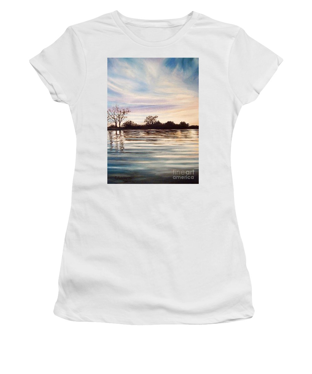 Oil Women's T-Shirt (Athletic Fit) featuring the painting Rippled Glass by Elizabeth Robinette Tyndall
