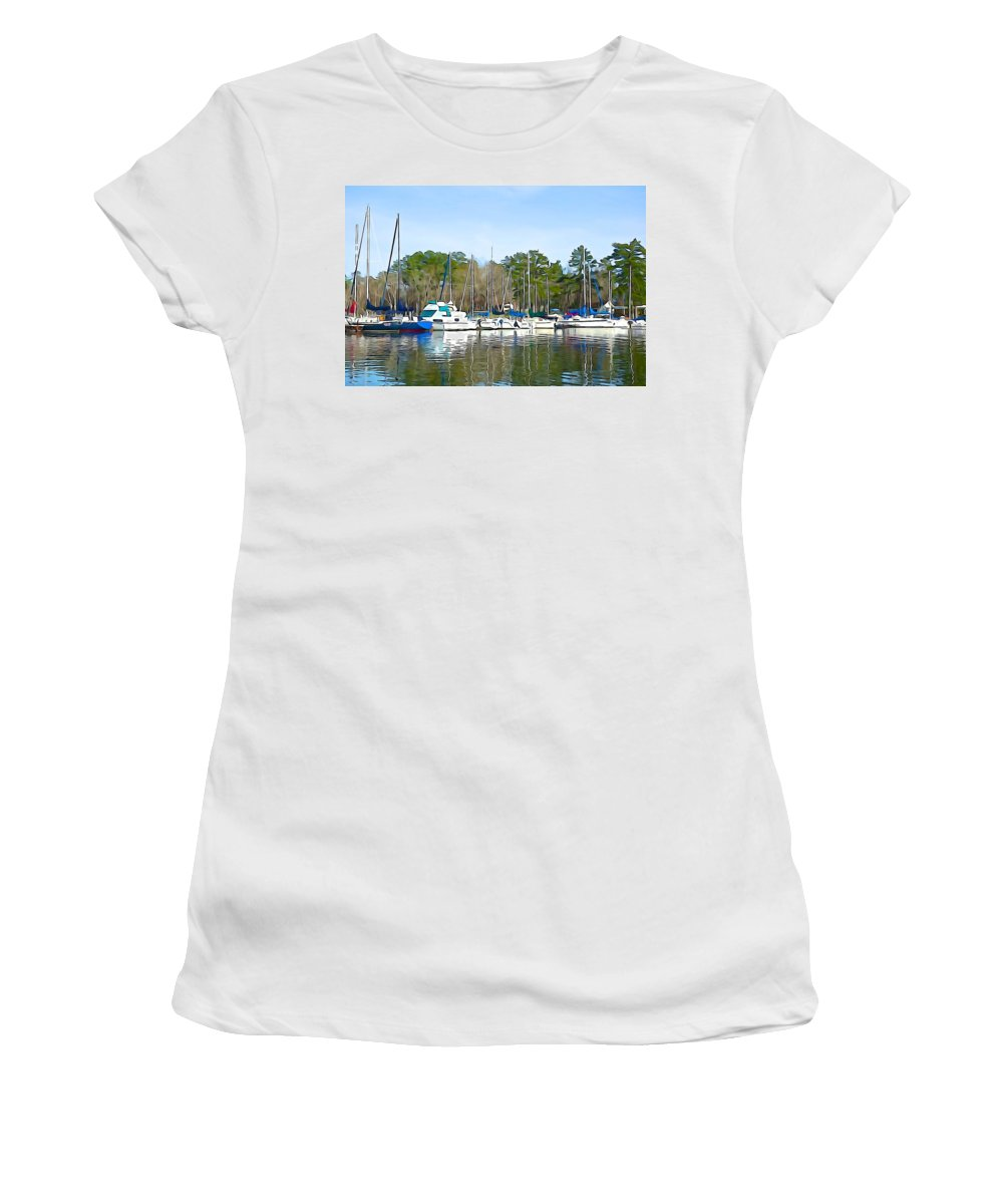 Ripples Women's T-Shirt (Athletic Fit) featuring the photograph Ripples And Lines by Charlie and Norma Brock