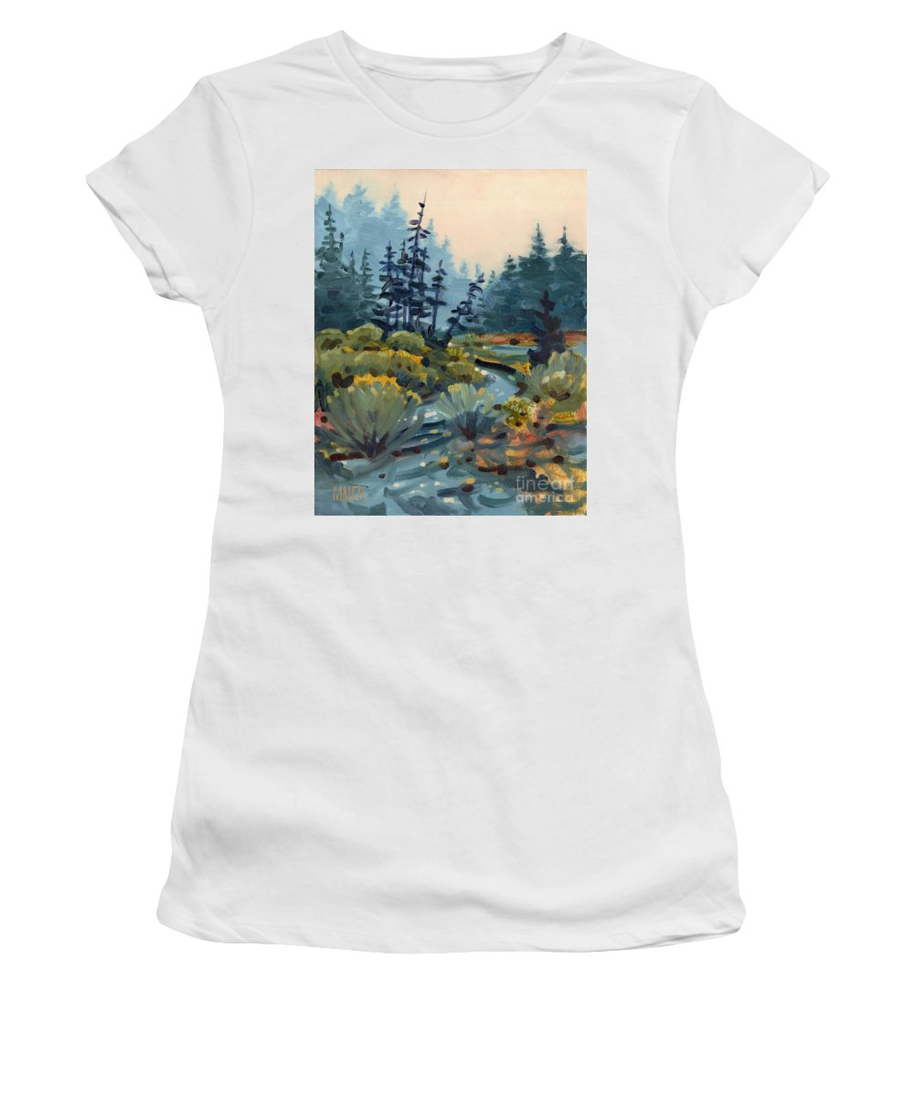 Russian River Women's T-Shirt (Athletic Fit) featuring the painting River Bend by Donald Maier