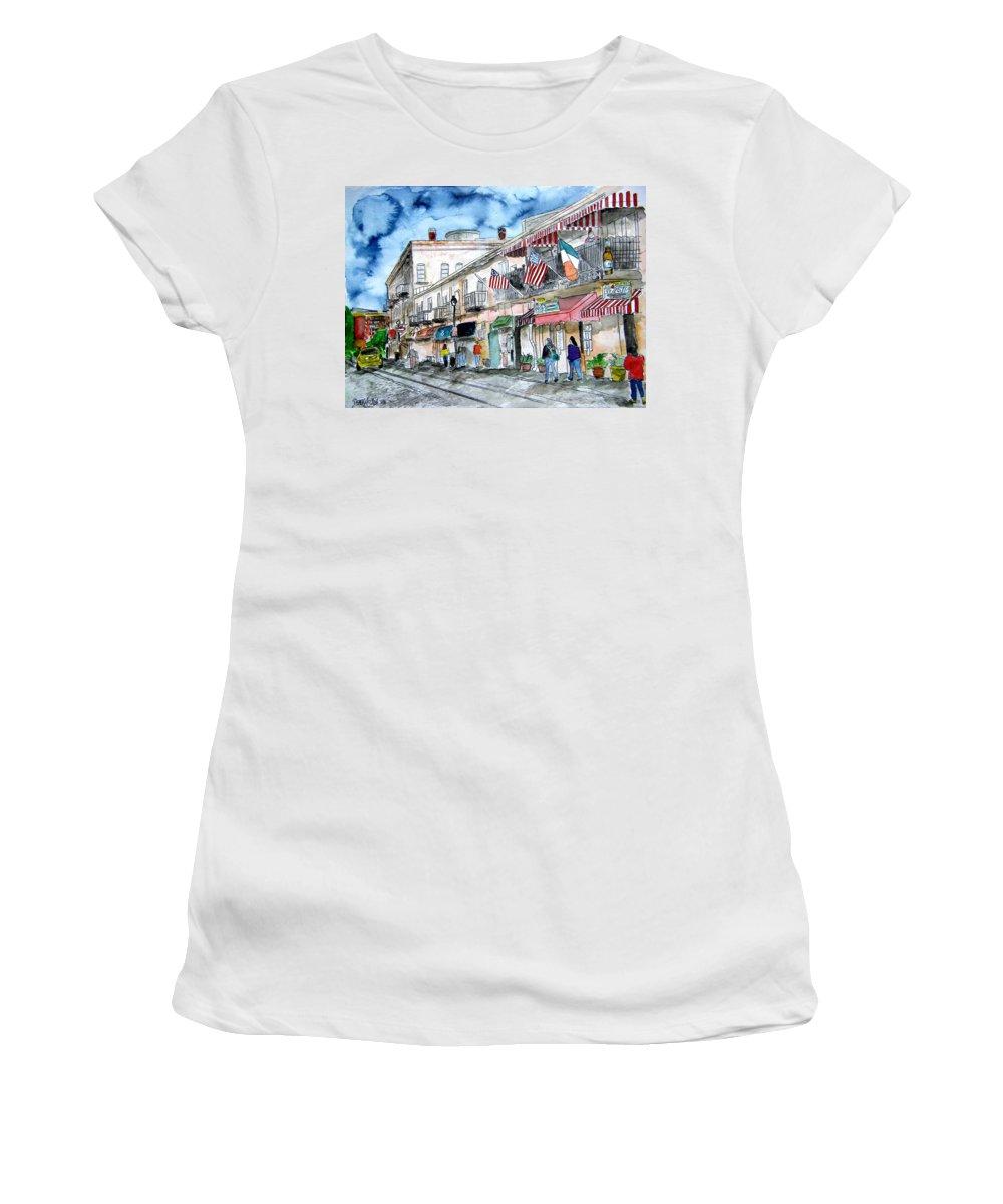 Savannah Women's T-Shirt featuring the painting River Street Savannah Georgia by Derek Mccrea