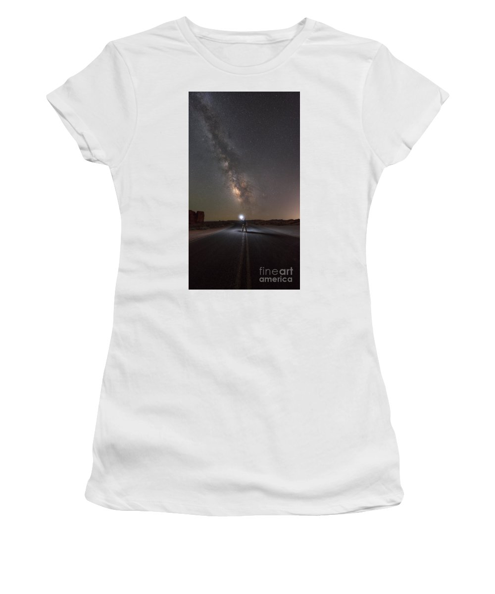 Road To The Stars Women's T-Shirt (Athletic Fit) featuring the photograph Hitchhike To The Galaxy Panorama by Michael Ver Sprill