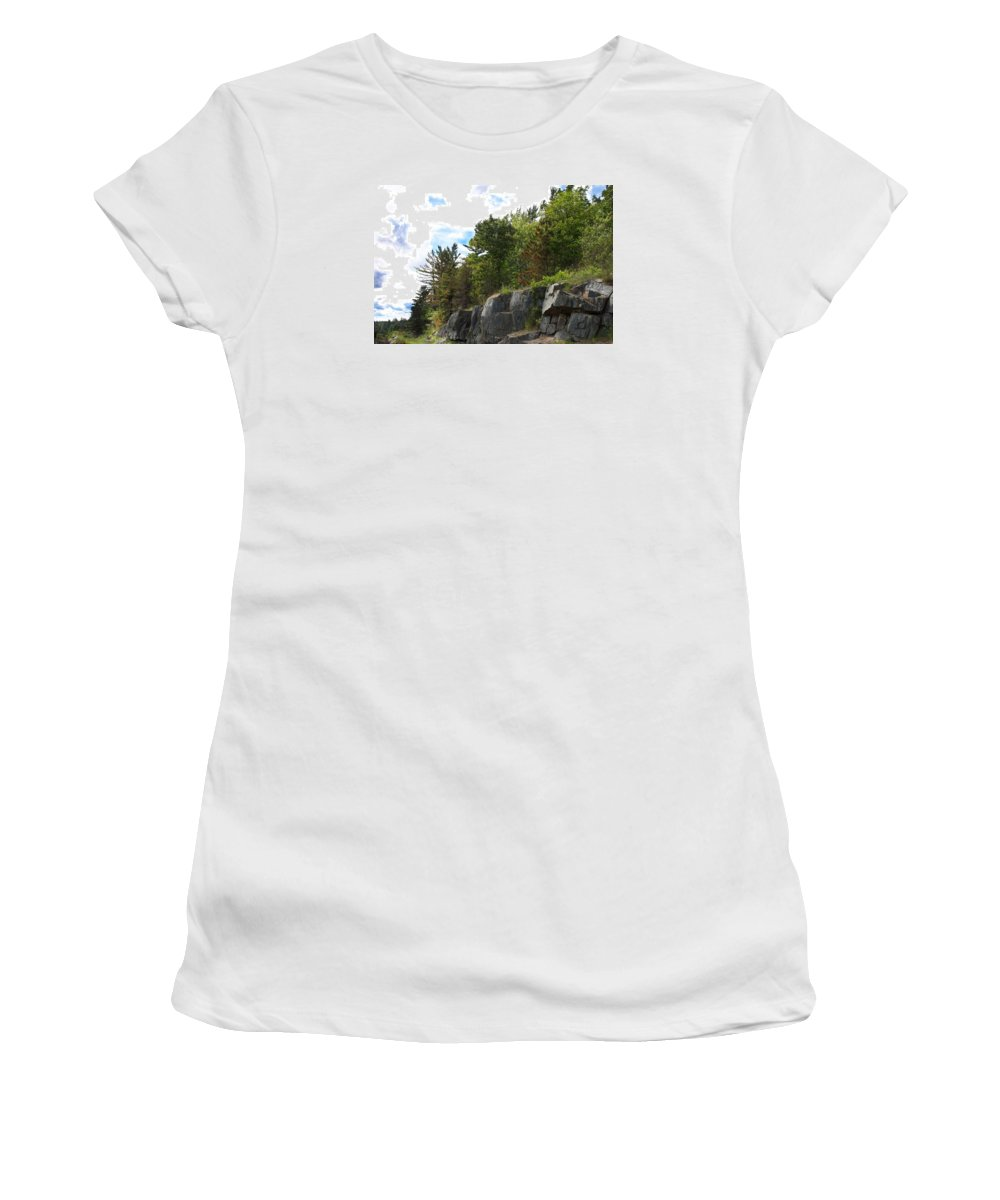 Rocks Women's T-Shirt (Athletic Fit) featuring the photograph Roadside Rocks by Kendall Tabor