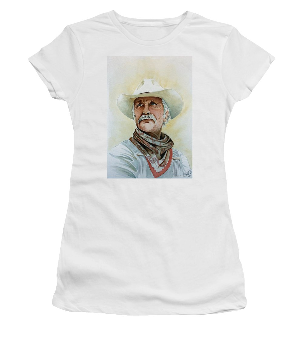 Cowboy Women's T-Shirt (Athletic Fit) featuring the painting Robert Duvall As Augustus Mccrae In Lonesome Dove by Jimmy Smith