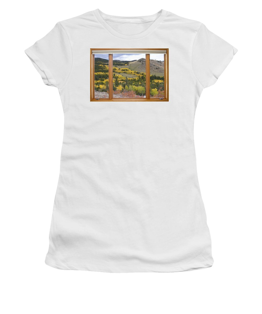 Windows Women's T-Shirt (Athletic Fit) featuring the Rocky Mountain Autumn Picture Window View by James BO Insogna