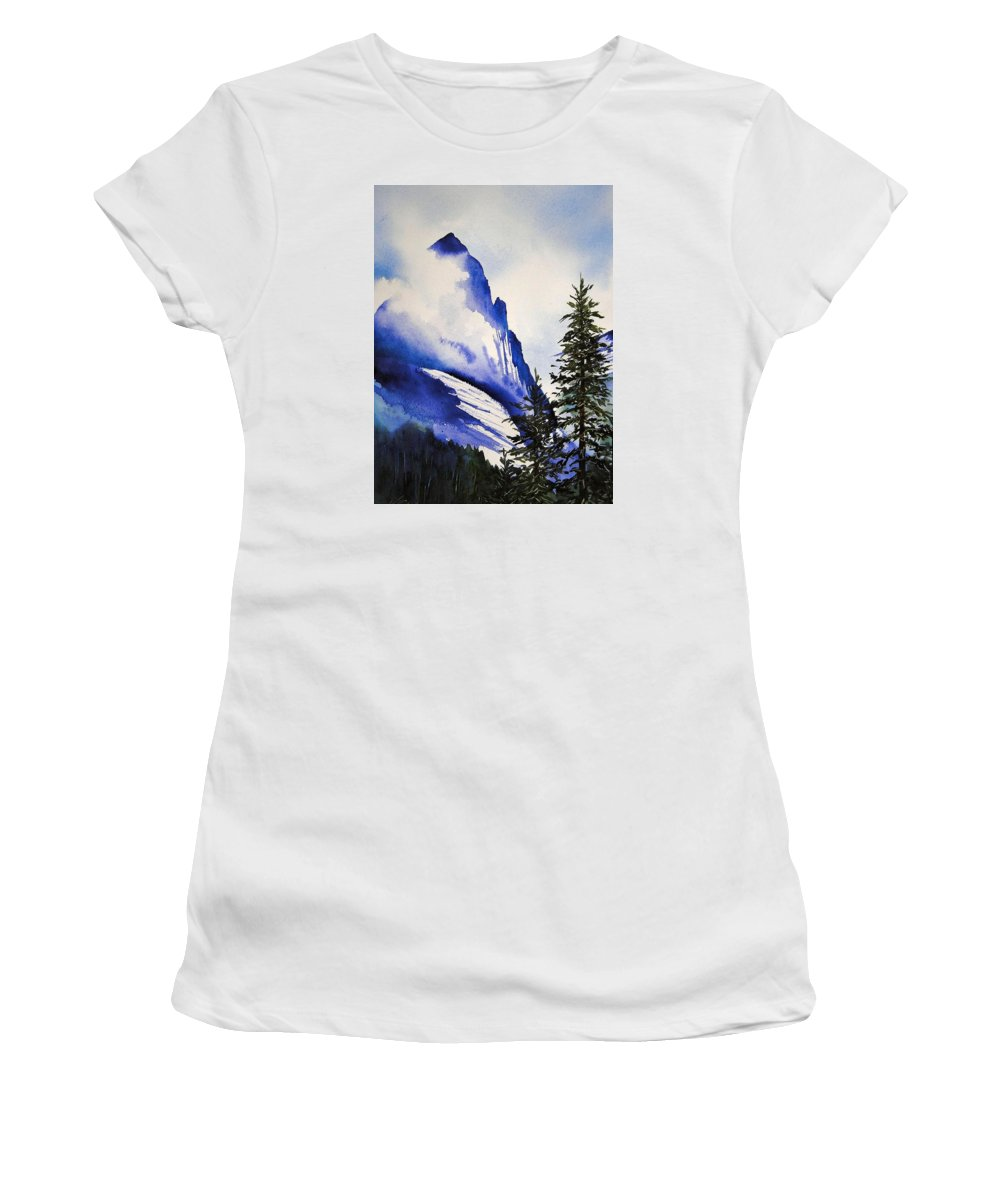 Rocky Mountains Women's T-Shirt featuring the painting Rocky Mountain High by Karen Stark