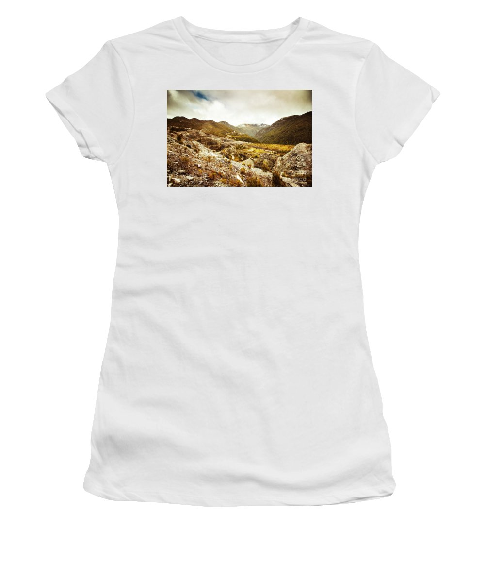 Rural Women's T-Shirt featuring the photograph Rocky Valley Mountains by Jorgo Photography - Wall Art Gallery