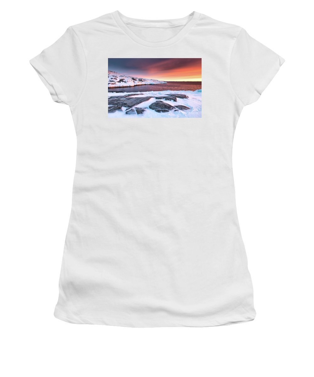 Greenland Women's T-Shirt (Athletic Fit) featuring the photograph Rodebay Sunset by Richard Burdon