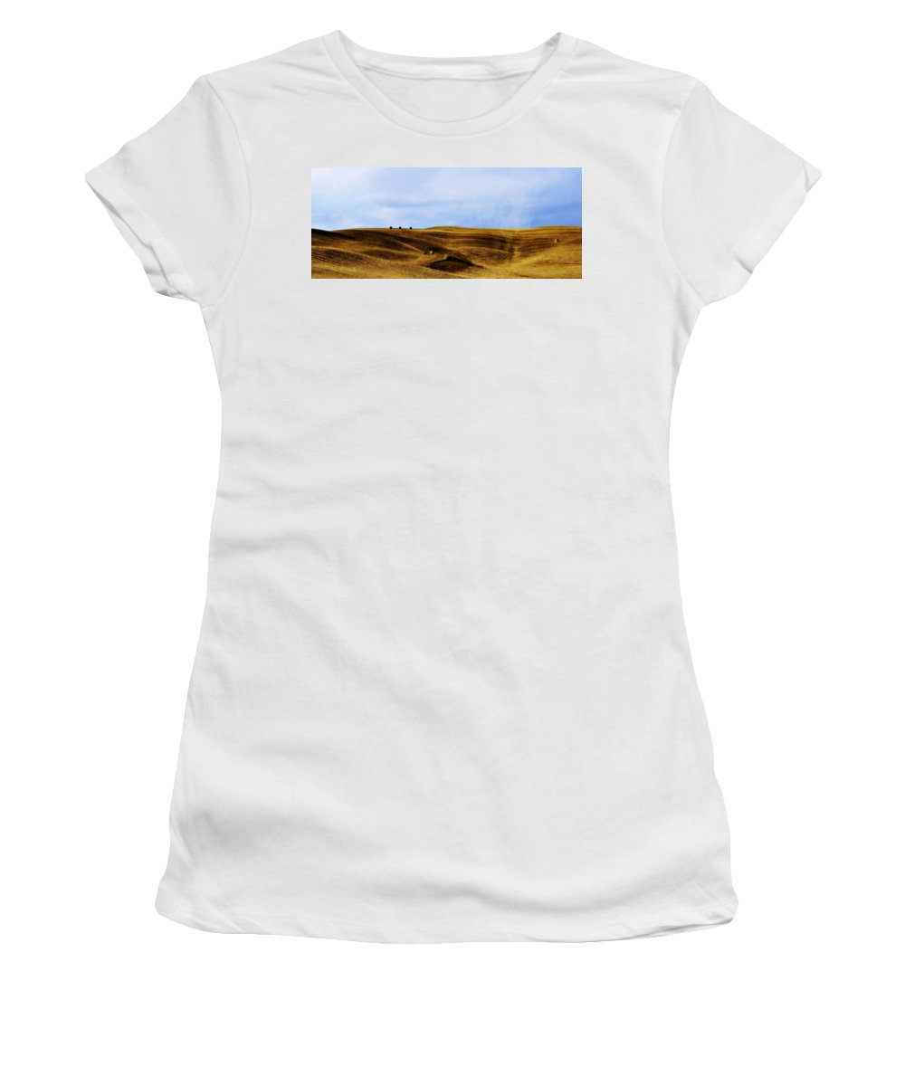 Italy Women's T-Shirt (Athletic Fit) featuring the photograph Rolling Hills Of Hay by Marilyn Hunt