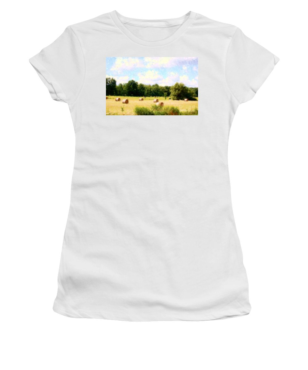 Nature Women's T-Shirt (Athletic Fit) featuring the photograph Rolling The Hay by David Lane