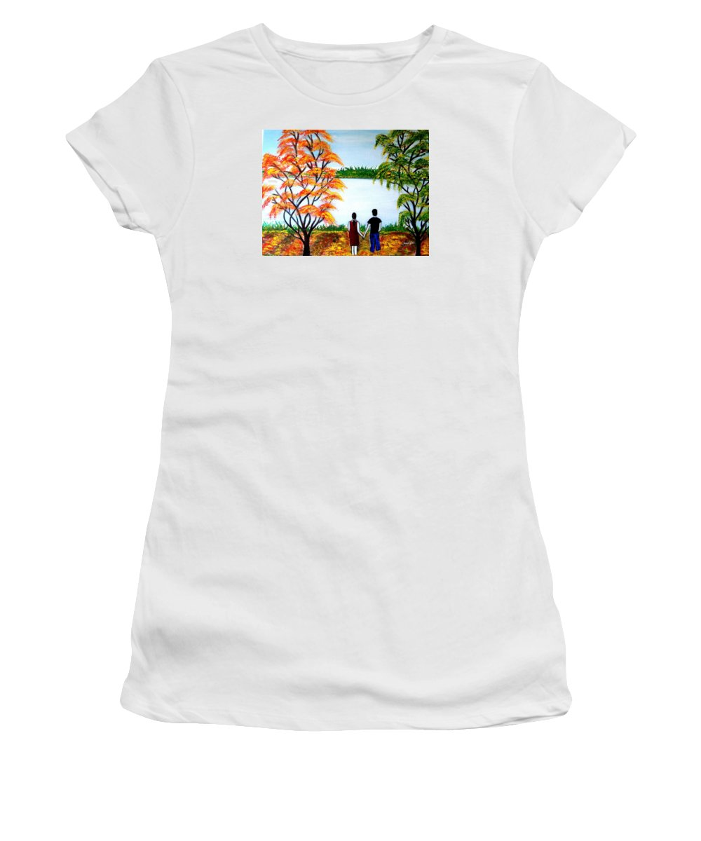 Romance Figures Autumn Orange Trees Green Pop Water Lake Love Valentine Yellow Lake Spring Bloom Women's T-Shirt (Athletic Fit) featuring the painting Romance In Autumn by Manjiri Kanvinde
