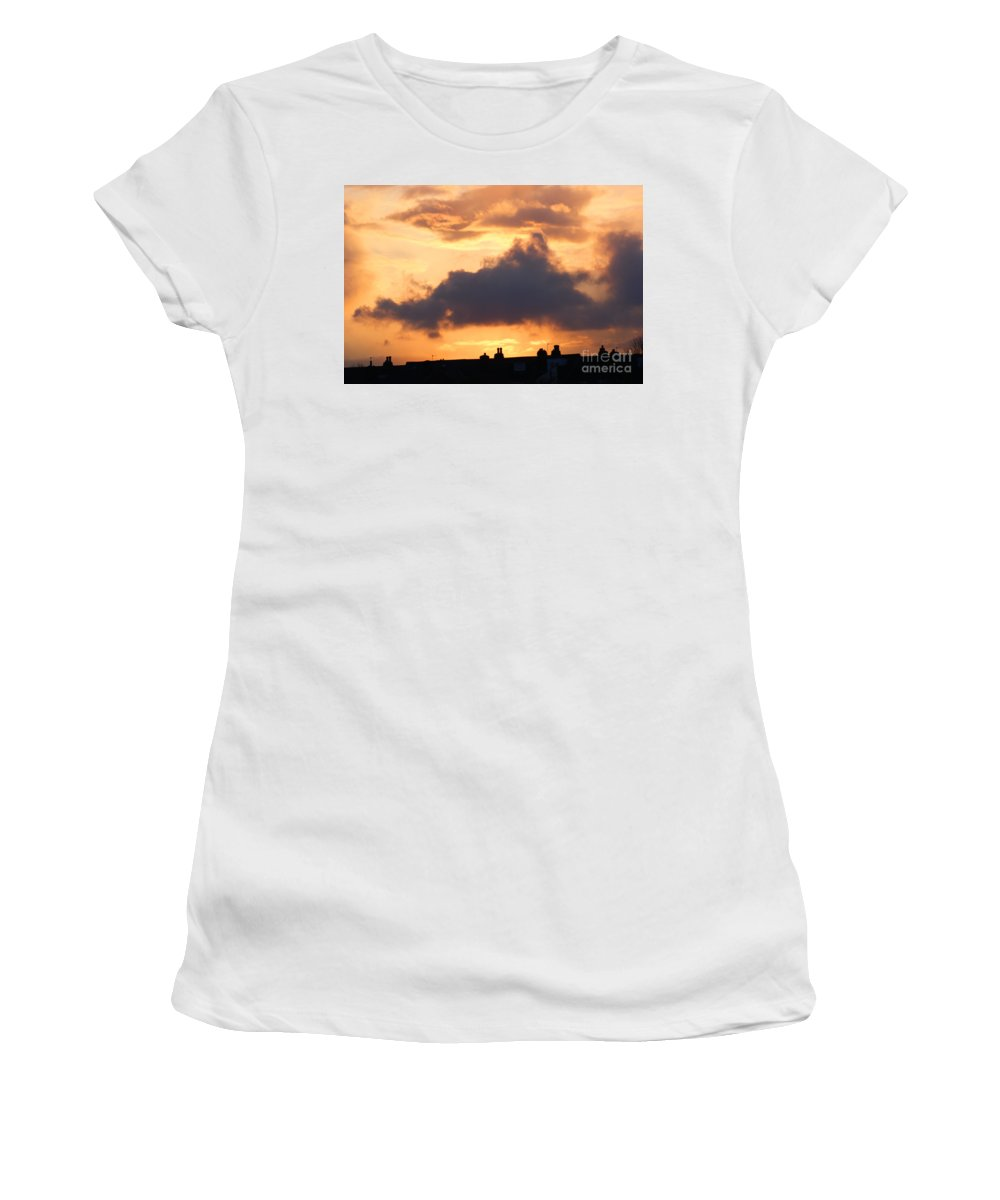 Sunset Women's T-Shirt (Athletic Fit) featuring the photograph Rooftop Sunset 2 by Carol Lynch