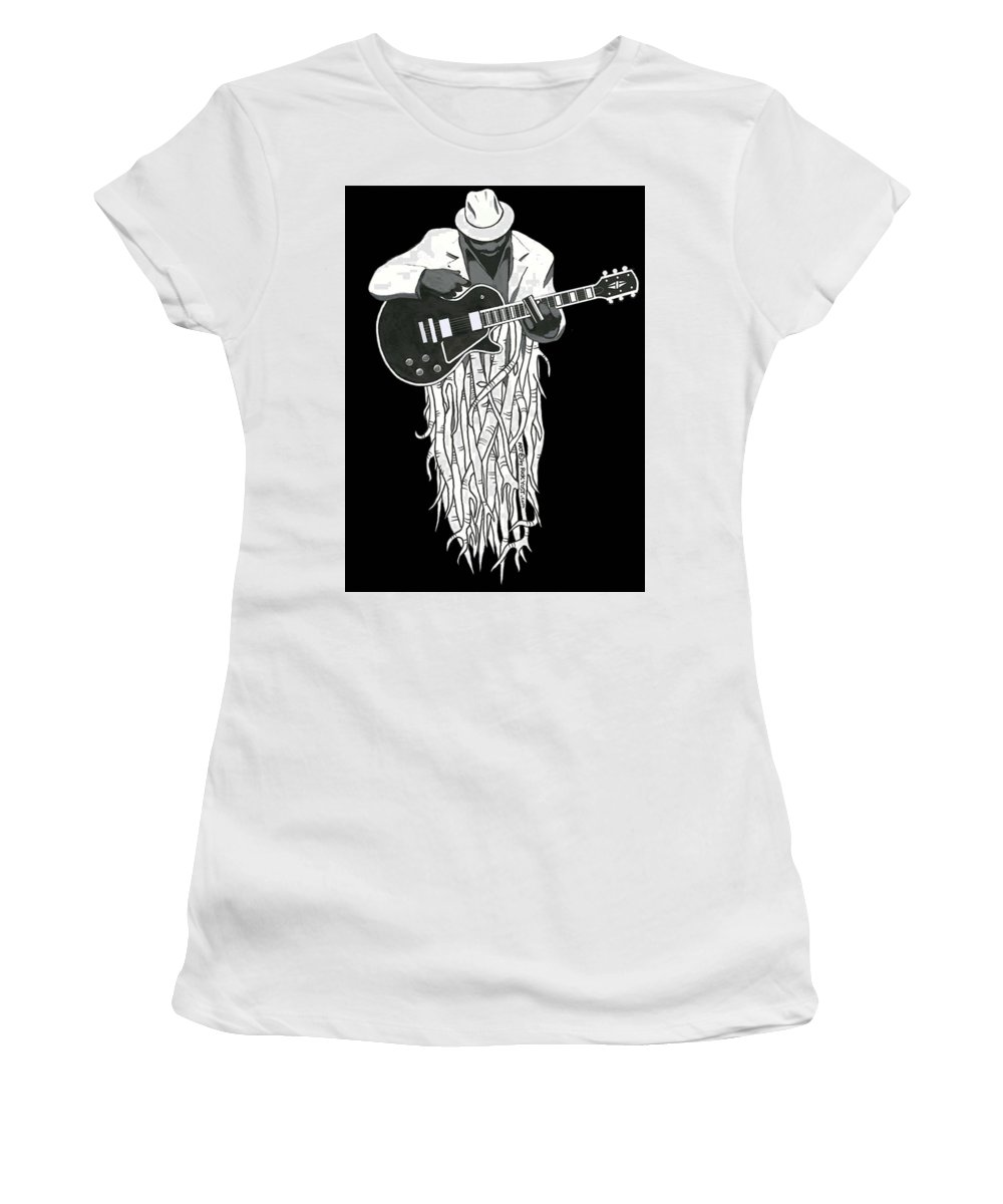 Blues Women's T-Shirt (Athletic Fit) featuring the drawing Root Music 2 by Rick Yost