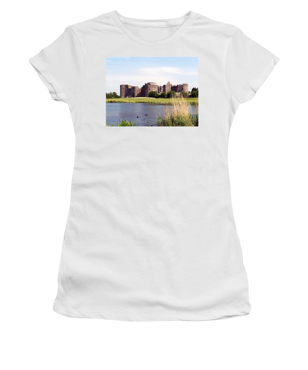 Roscommon Women's T-Shirt (Athletic Fit) featuring the photograph Roscommon Castle Ireland by Teresa Mucha