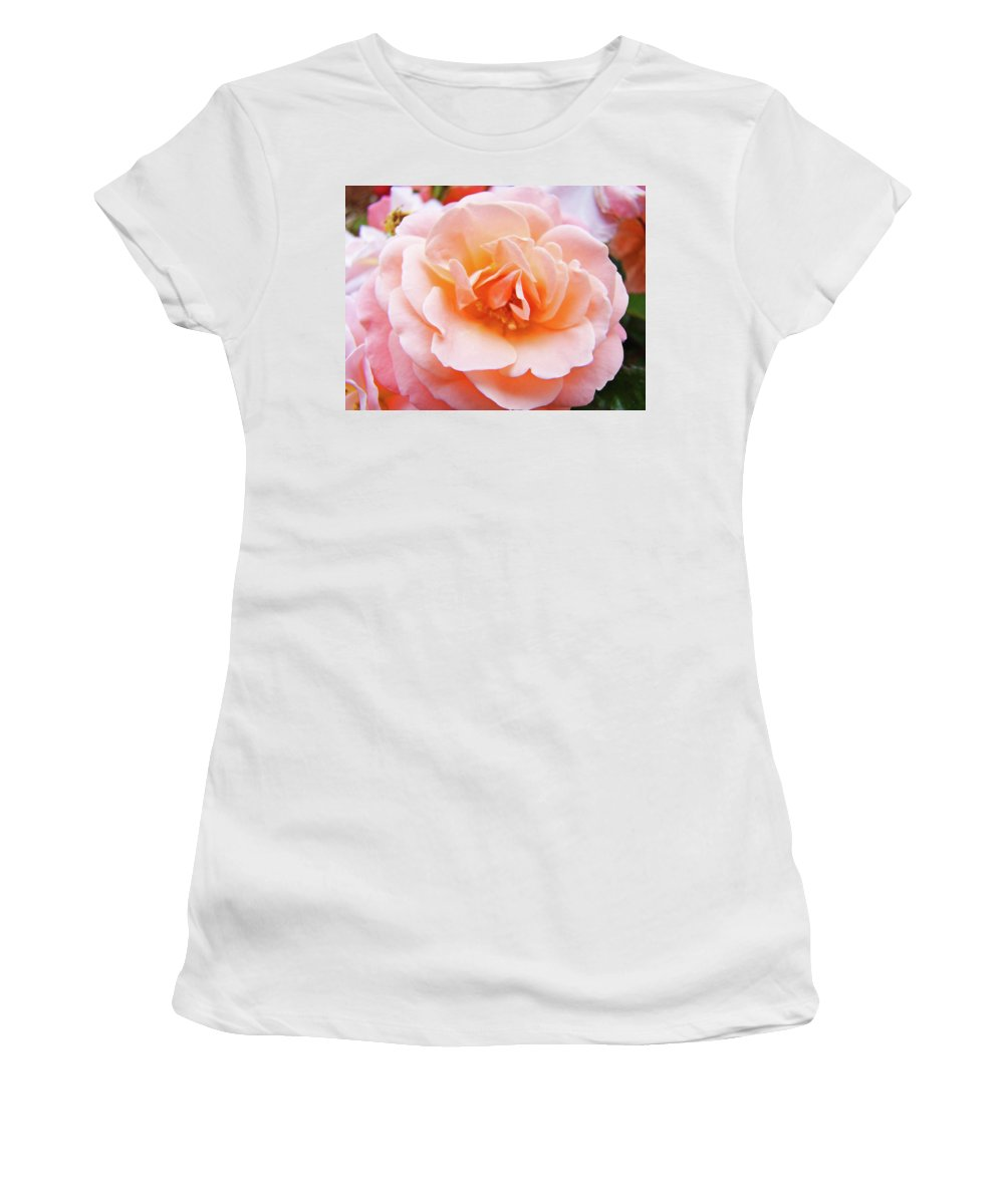 Rose Women's T-Shirt (Athletic Fit) featuring the photograph Rose Floral Art Print Peach Pink Roses Garden Canvas Baslee Troutman by Baslee Troutman