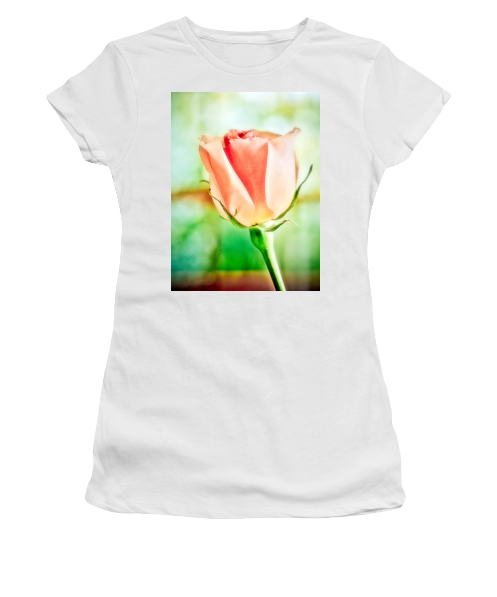 Rose Women's T-Shirt (Athletic Fit) featuring the photograph Rose In Window by Marilyn Hunt