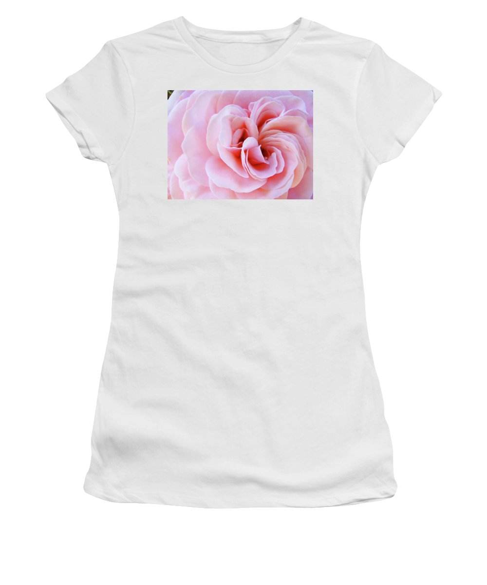 Rose Women's T-Shirt (Athletic Fit) featuring the photograph Rose Spiral Art Pink Roses Floral Baslee Troutman by Baslee Troutman
