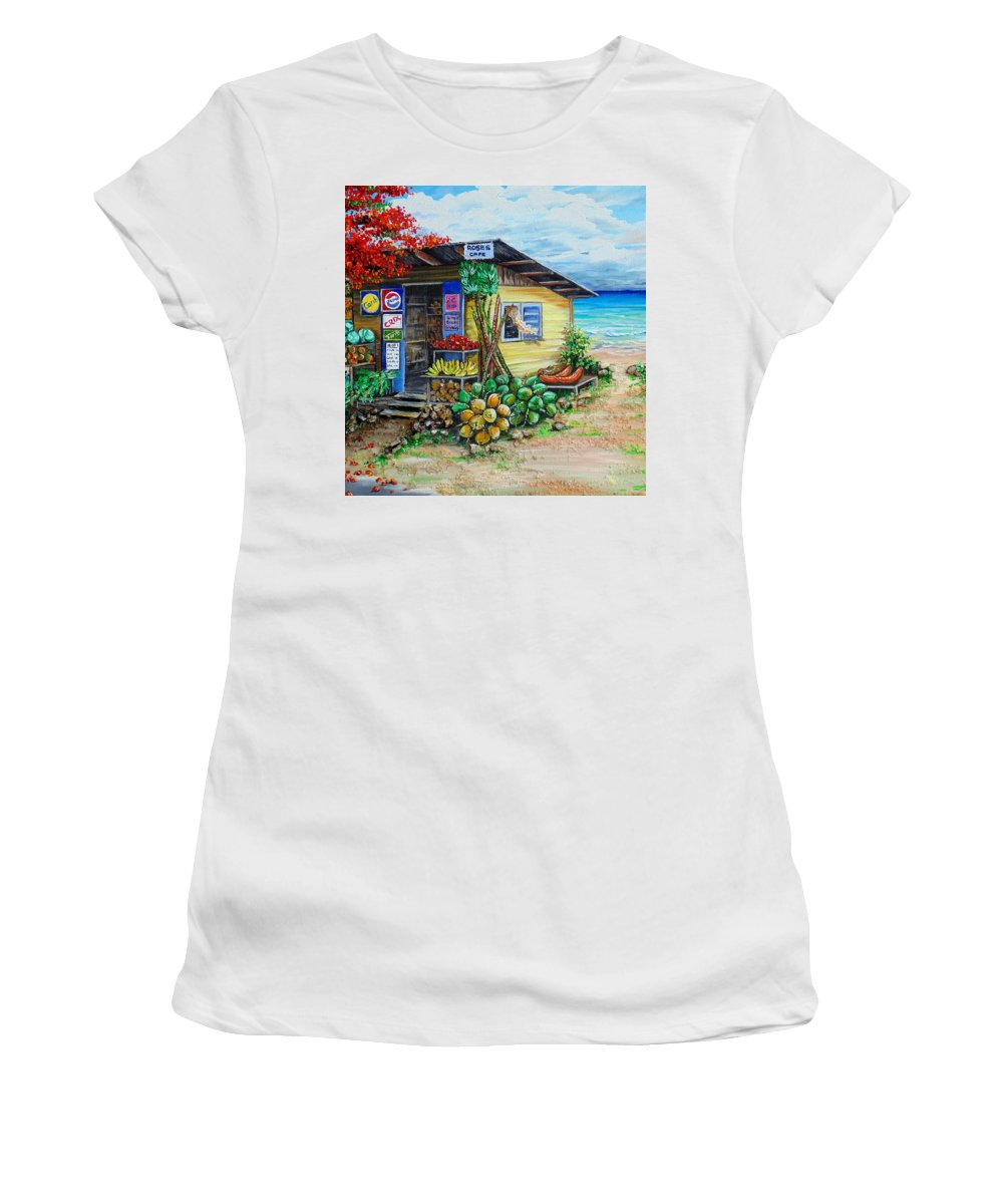 Beach Cafe Women's T-Shirt featuring the painting Rosies Beach Cafe by Karin Dawn Kelshall- Best