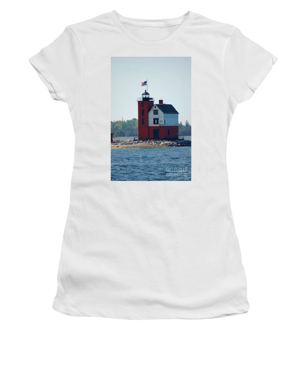 Round Island Women's T-Shirt featuring the photograph Round Island Lighthouse by Elizabeth Stone