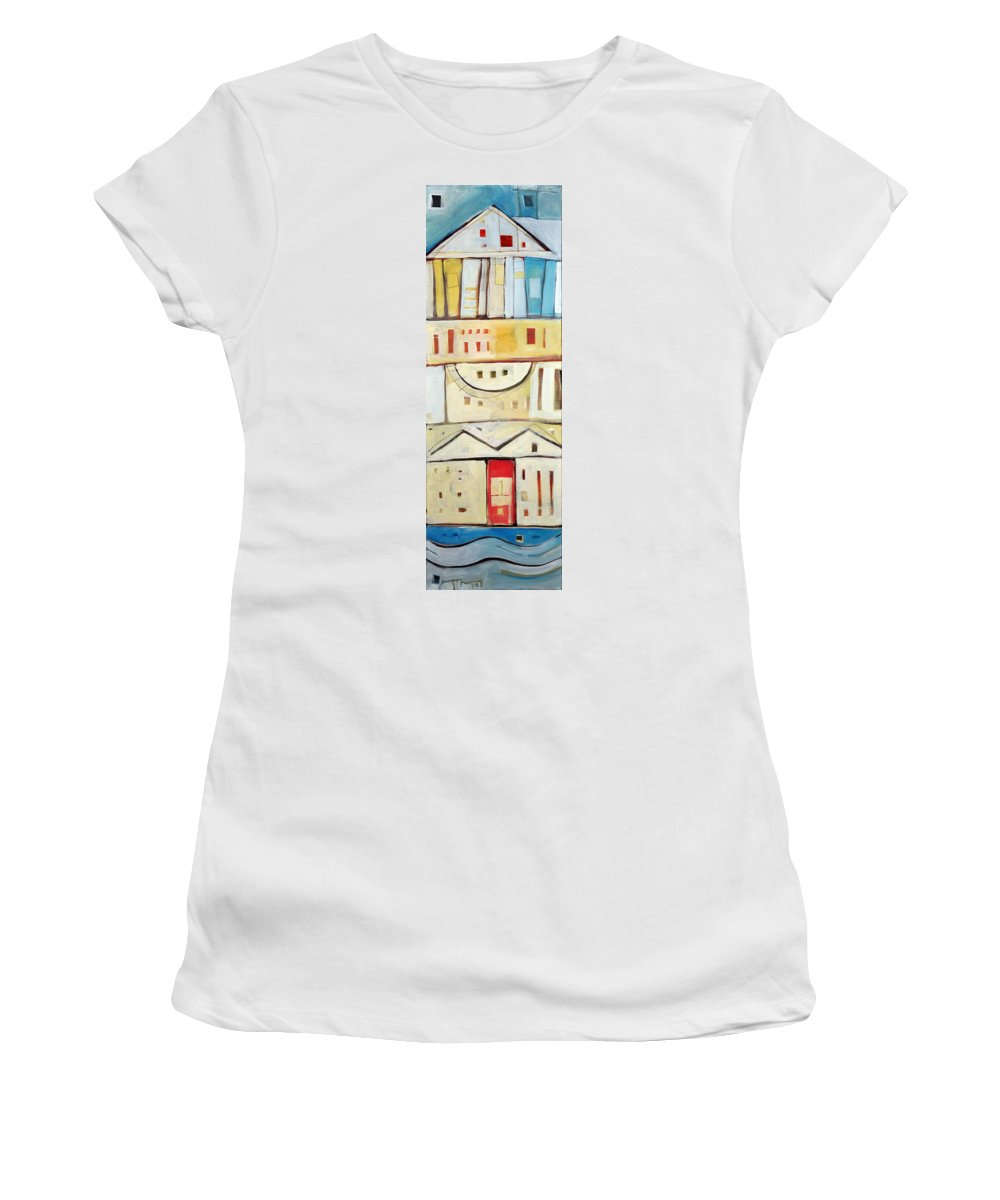 House Women's T-Shirt featuring the painting Rowhouse No. 1 by Tim Nyberg