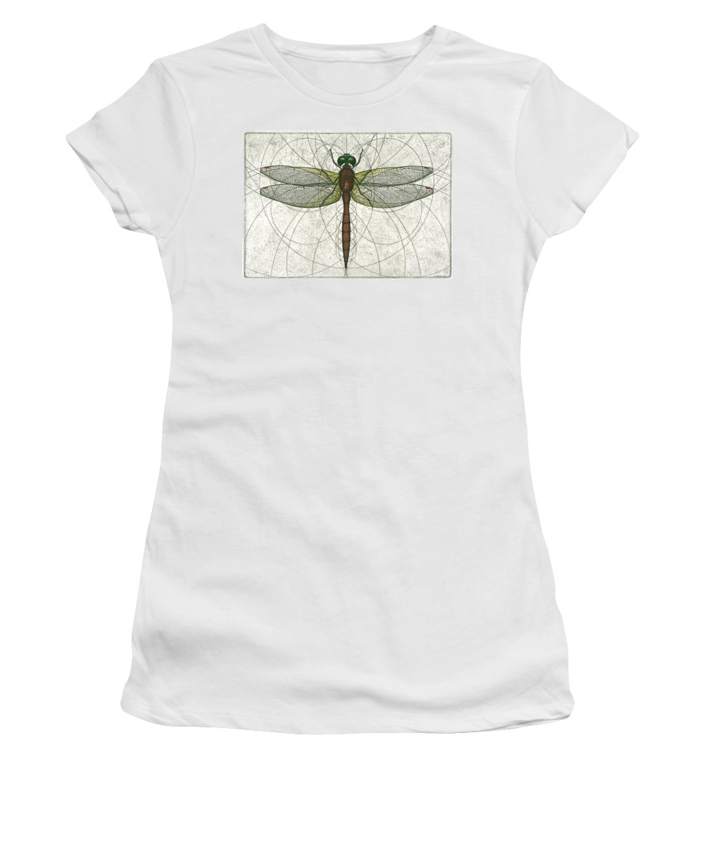 Ruby Women's T-Shirt (Athletic Fit) featuring the painting Ruby Meadowhawk Dragonfly by Charles Harden