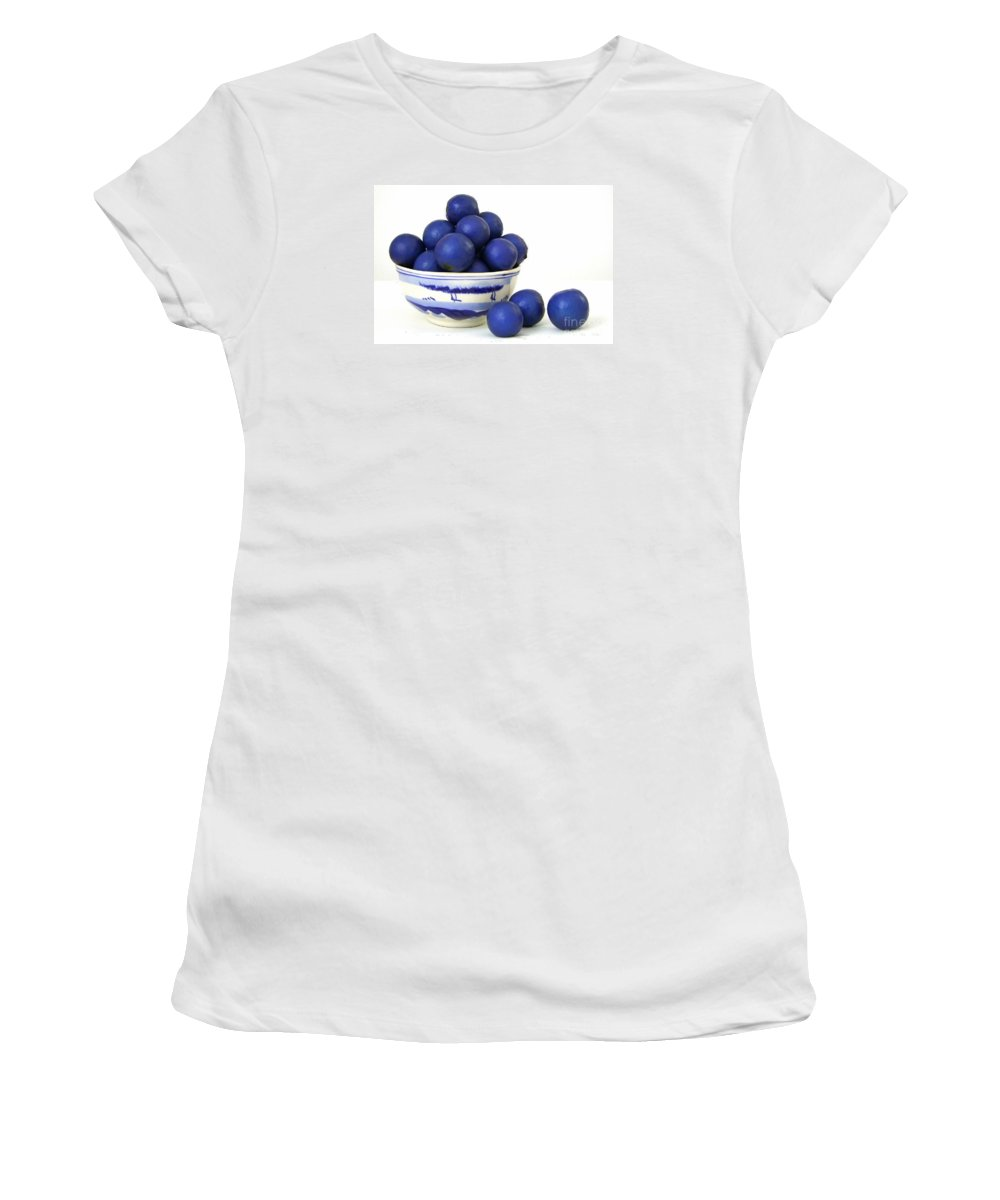 Seed Pods Women's T-Shirt featuring the photograph Rudraksha Tree Seeds In Vintage Bowl by Mary Deal